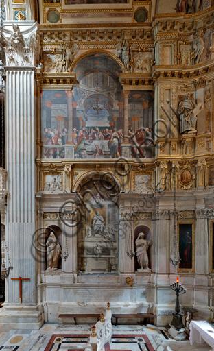 Genova, Duomo (Cattedrale di S. Lorenzo), interno, Cappella Lercari o del Santissimo Sacramento (abside settentrionale): veduta completa del fianco settentrionale (sinistro).