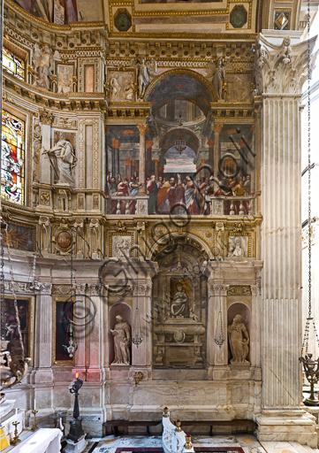 Genova, Duomo (Cattedrale di S. Lorenzo), interno, Cappella Lercari o del Santissimo Sacramento (abside settentrionale): veduta completa del fianco meridionale (destro).