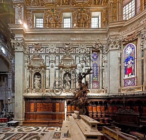 Genova, Duomo (Cattedrale di S. Lorenzo), interno,  presbiterio: la parete nord.