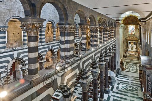 Genova, Duomo (Cattedrale di S. Lorenzo), interno: veduta della navata meridionale da Ovest.