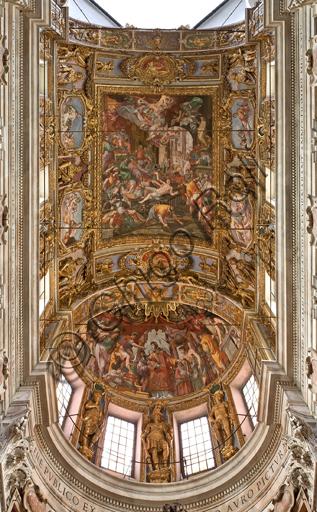 Genova, Duomo (Cattedrale di S. Lorenzo), interno, volta e catino absidale del presbiterio: gli affreschi di Lazzaro Tavarone.