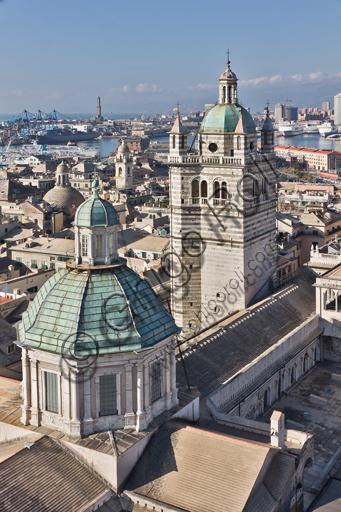 Genova, Duomo (Cattedrale di S. Lorenzo): la cupola e il campanile.