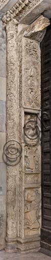 Genova, Duomo (Cattedrale di S. Lorenzo), lato nord, portale di S. Giovanni Battista (prima metà del sec. XII): stipite sinistro del portale, di maestri antelamici e campionesi.