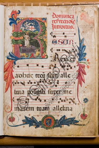 Genova, Museo Diocesano: Graduale N 9, C.1, carta 1 recto con miniatura della Resurrezione. Miniatore ignoto, 1464.