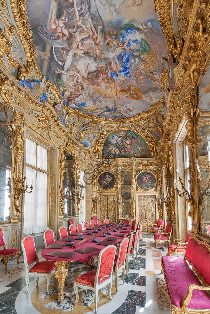 Genoa, Palazzo Carrega-Cataldi (former Palazzo Tobia Pallavicini): the Gallery, with Rococo frescoes by Lorenzo De Ferrari (1740-44). In the vault: the Olympus. In the lunettes and in the tondos: the stories of Aeneas.World Heritage UNESCO.