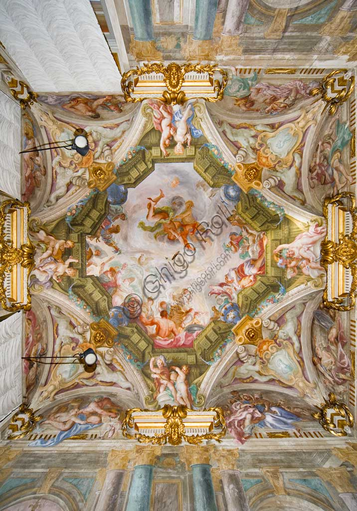 Genoa, Palazzo Rosso (former Palazzo Rodolfo e Francesco Maria Brignole Sale), the Hall of the Winter: the ceiling with the allegory of the Winter,  the cold winds  (Eurus or the Levant, the Bora, the Austro), the Hunting and the Carnival. Fresco by Domenico Piola (1687-8).World Heritage UNESCO.