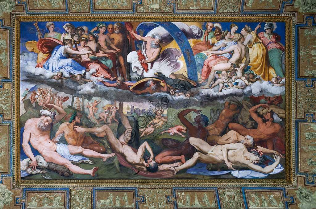 Genova, Villa del Principe (Palazzo di Andrea Doria), Salone di Giove, volta: Giove che folgora i Giganti ribelli (Caduta dei Giganti). Affresco di Perin del Vaga (Pietro Bonaccorsi), 1530 - 1533.