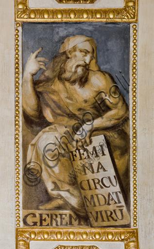 """Genova, Duomo (Cattedrale di S. Lorenzo), interno, Cappella Lercari o del Santissimo Sacramento (abside settentrionale), volta: """"Geremia"""", affresco di Giovanni Battista Castello detto il Bergamasco, 1564-7."""
