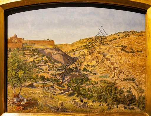 """""""Jerusalem and the Valley of Jehoshaphat from the hill of Evil Counsel"""",  (1854-55)  by Thomas Seddon (1821 - 1856);  oil painting on canvas. In this painting you can see the Mount of Olives and the Garden of Gethsemane (Jesus ' places)."""