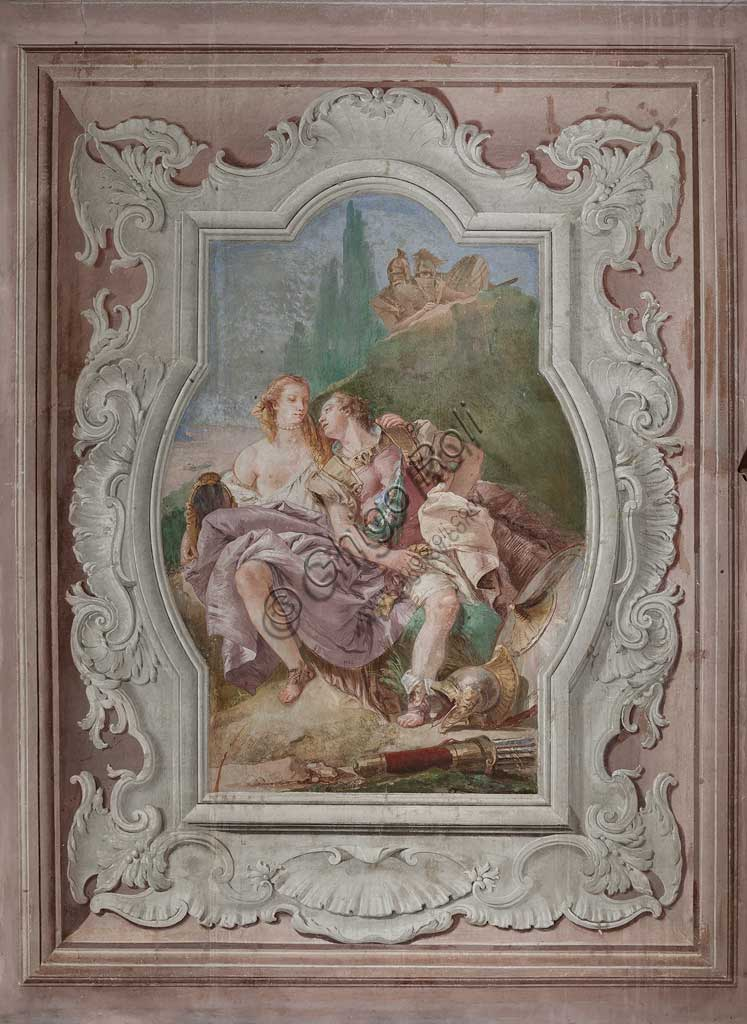"Vicenza, Villa Valmarana ai Nani, Palazzina (Small Building): view of the fourth room or of Torquato Tasso, with freescoes representing episodes of ""Jerusalem Delivered"": ""Rinaldo and Armida in the enchanted garden, secretely observed by Ubaldo and Carlo"". Frescoes by Giambattista Tiepolo, 1756 - 1757."