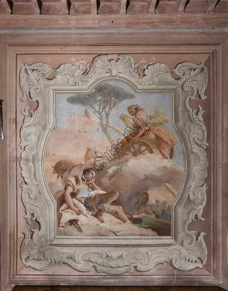 "Vicenza, Villa Valmarana ai Nani, Palazzina (Small Building): view of the fourth room or of Torquato Tasso, with freescoes representing episodes of ""Jerusalem Delivered"": ""The witch Armida sees Rinaldo, who is asleep, and falls in love with him"". Frescoes by Giambattista Tiepolo, 1756 - 1757."