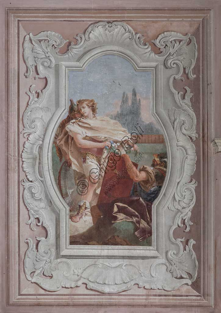 "Vicenza, Villa Valmarana ai Nani, Palazzina (Small Building): view of the fourth room or of Torquato Tasso, with freescoes representing episodes of ""Jerusalem Delivered"": ""The companions hold the mirror in front of Rinaldo"". Frescoes by Giambattista Tiepolo, 1756 - 1757."