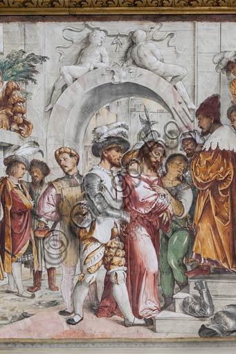 """Cremona, Duomo (Cattedrale di S. Maria Assunta), interno, presbiterio, dodicesimo arcone: a sinistra """"Gesù al cospetto di Ponzio Pilato"""", affresco di Girolamo Romanino, 1519."""