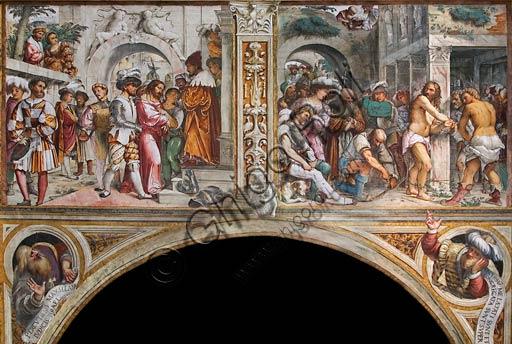 """Cremona, Duomo (Cattedrale di S. Maria Assunta), interno, presbiterio, dodicesimo arcone: a sinistra """"Gesù al cospetto di Ponzio Pilato""""; a destra """"Flagellazione"""", affreschi di Girolamo Romanino, 1519."""
