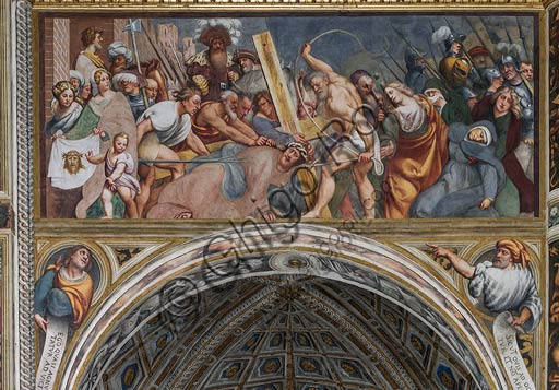 "Cremona, Duomo (the Cathedral of S. Maria Assunta), interior, middle nave, fifteenth arch: ""Jesus falls under the Cross"", fresco by Pordenone (Giovan Antonio de' Sacchis), 1520."