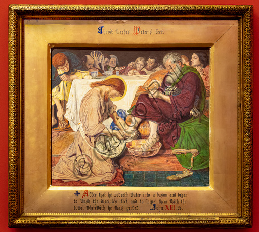 """""""Jesus washing Peter's feet"""",  (1857-8) by Ford Madox Brown (1821 - 93); watercolour on paper. The character holding his head in his hands is William Holman Hunt; the blond haired disciple is Dante Gabriel Rossetti."""