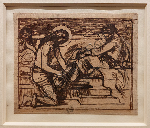 """Sketch for """"Jesus washing Peter's feet"""",  (1851) by Ford Madox Brown (1821 - 93); graphite and ink on paper."""
