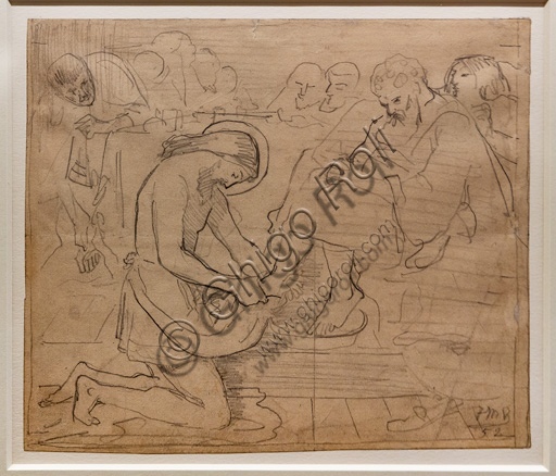 """Sketch for """"Jesus washing Peter's feet"""",  (1852) by Ford Madox Brown (1821 - 93); graphite on paper. On the left, the disciple removing his sandals and, on the right, the tormented Judas."""