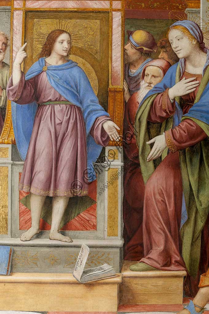"""Saronno, Shrine of Our Lady of Miracles: """"Jesus among the Doctors"""", fresco by Bernardino Luini, 1525 - 1532. Detail."""