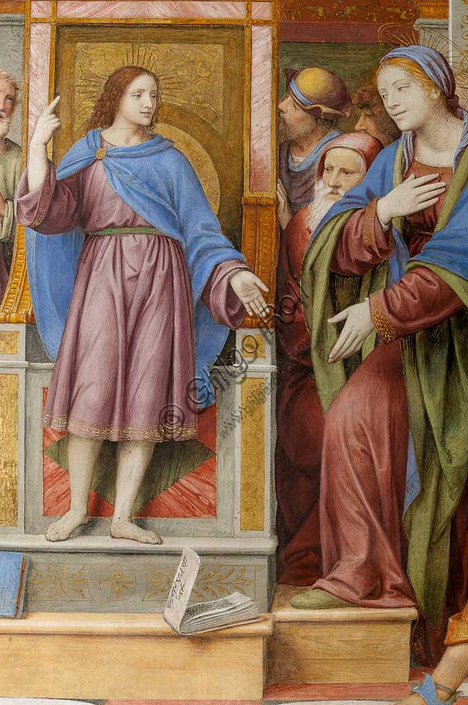 """Saronno, Santuario della Beata Vergine dei Miracoli, Antipresbiterio: """"Gesù tra i Dottori"""", affresco di Bernardino Luini, 1525 - 1532. Particolare."""