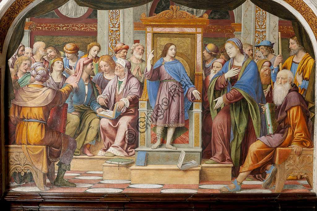 """Saronno, Santuario della Beata Vergine dei Miracoli, Antipresbiterio: """"Gesù tra i Dottori"""", affresco di Bernardino Luini, 1525 - 1532."""