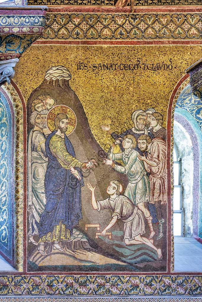 "Monreale, Duomo: ""Jesus healing blind men and cripples"", Byzantine mosaic, Episodes from the life of Christ, XII - XIII centuries. Latin inscription:""IESUS SANAT CÆCOS ET CLAUDOS"" ."