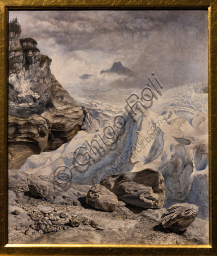 """The Rosenlaui Glacier"",  (1856)  by John Brett (1831 - 1902);  oil painting on canvas."