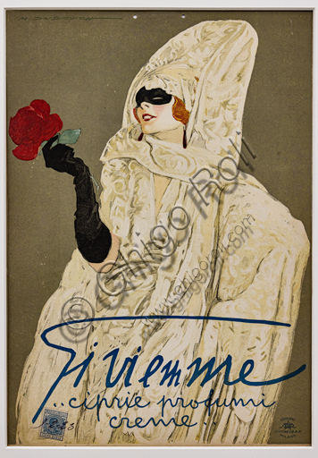 """""""Gi Vi Emme face powders, perfumes, creams"""", Illustration for the advertising poster by Marcello Dudovich, 1923, chromolithography on cardboard."""