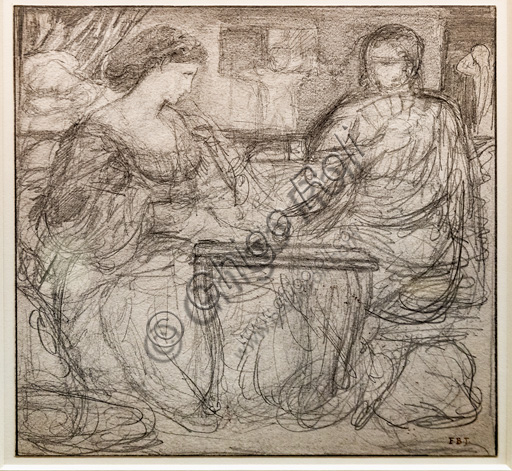 "Sketch of two seated figures for ""The Backgammon Players"" (1861) by Edward Coley Burne - Jones  (1833 - 1898); graphite  on paper."