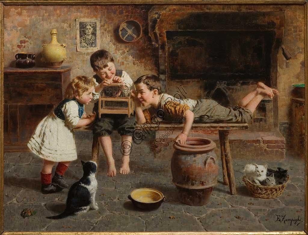 """Collezione Assicoop - Unipol: """"Giochi di bambini"""", di Eugenio Zampighi (1859 - 1944), olio su tela."""