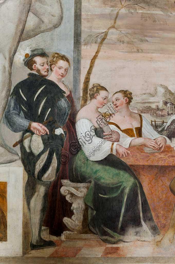 """Caldogno, Villa Caldogno, main hall:  """"Card Game"""". Fresco by Giovanni Antonio Fasolo, about 1570. Detail."""