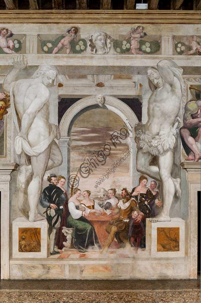 """Caldogno, Villa Caldogno, main hall:  """"Card Game"""". Fresco by Giovanni Antonio Fasolo, about 1570."""