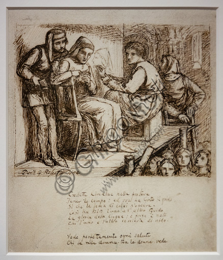 """Study for """"Giotto painting Dante's portrait"""",(1852)  by Dante Gabriel Rossetti (1828-1882); ink on paper."""