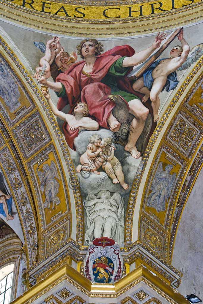 """Basilica di S. Andrea della Valle, pennacchi della cupola del transetto: """"S. Giovanni evangelista"""".  Affresco del Domenichino (Domenico Zampieri), 1622 - 28."""