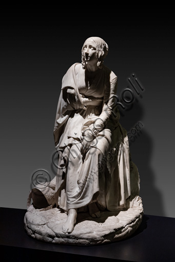 """Giovanni Pandiani:  """"The widow of the soldier"""", sculpture in marble, 1851."""