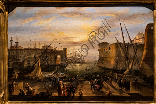 """Giovanni Signorini: """"The Marina of Livorno and the Medici Fortress in the background"""", 1840, oil painting on canvas."""