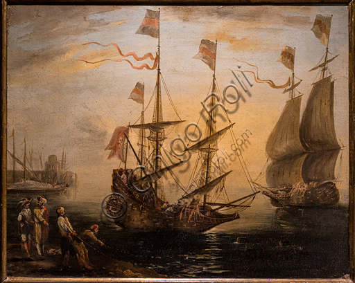 """Giovanni Signorini: """"Marina and two sailing ships"""", 1840, oil painting on canvas."""