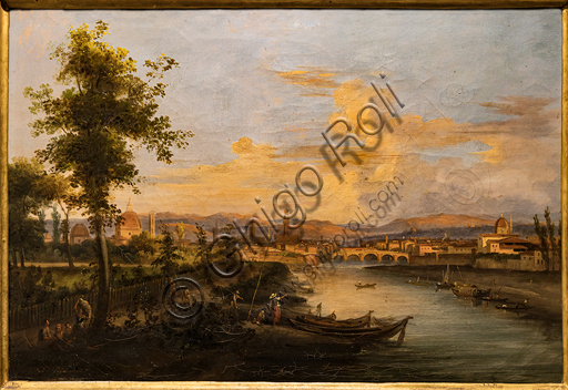 """Giovanni Signorini: """"View of the Arno"""",  about 1850, oil painting on canvas."""