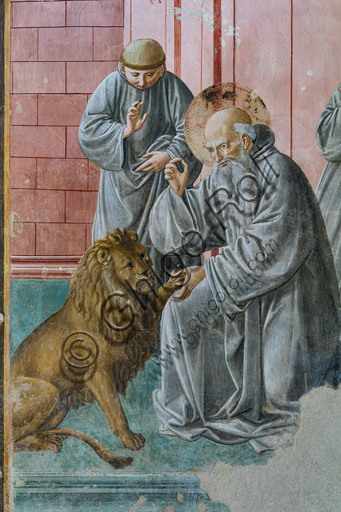 Montefalco, Museum of St. Francis, Church of St. Francis, Chapel of St. Jerome: frescoes by Benozzo Gozzoli, 1452. Deail with St. Jerome taking the thorn from the lion's paw.