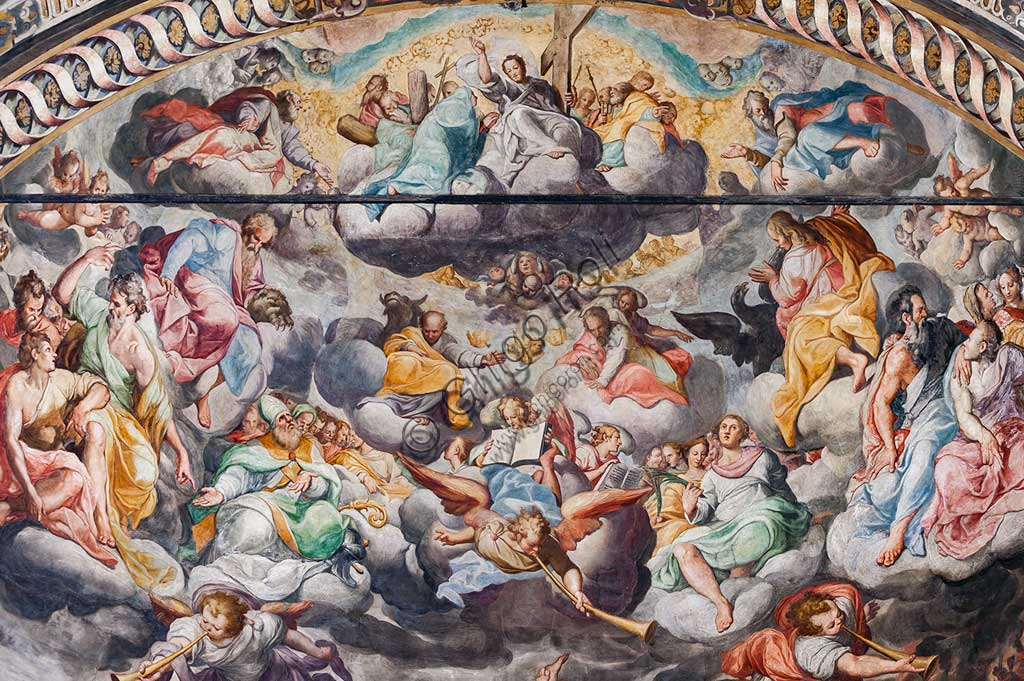 """Basilica of St Prospero, the apse: """"Finale Judgement"""", fresco by Camillo Procaccini  (1585 - 1587). Detail with angels playing music."""