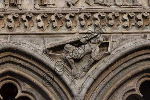 "Ferrara, the Cathedral dedicated to St. George, façade: detail of the trabeation with the ""Last Judgement""."