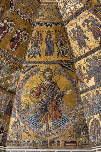 """Florence, the Baptistery of St. John, the dome, the mosaic """"the Last Judgement"""": tetail of Christ as judge."""