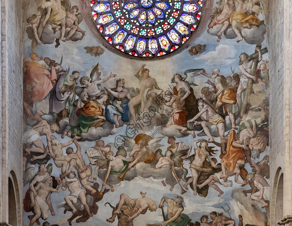 "Todi, Cathedral of Santissima Annunziata or Duomo: the Counterfaçade with the fresco ""The Last Judgement"", by Ferraù Fenzoni known as Ferraù da Faenza, or il Faezone, 1596 and the rose. Detail."
