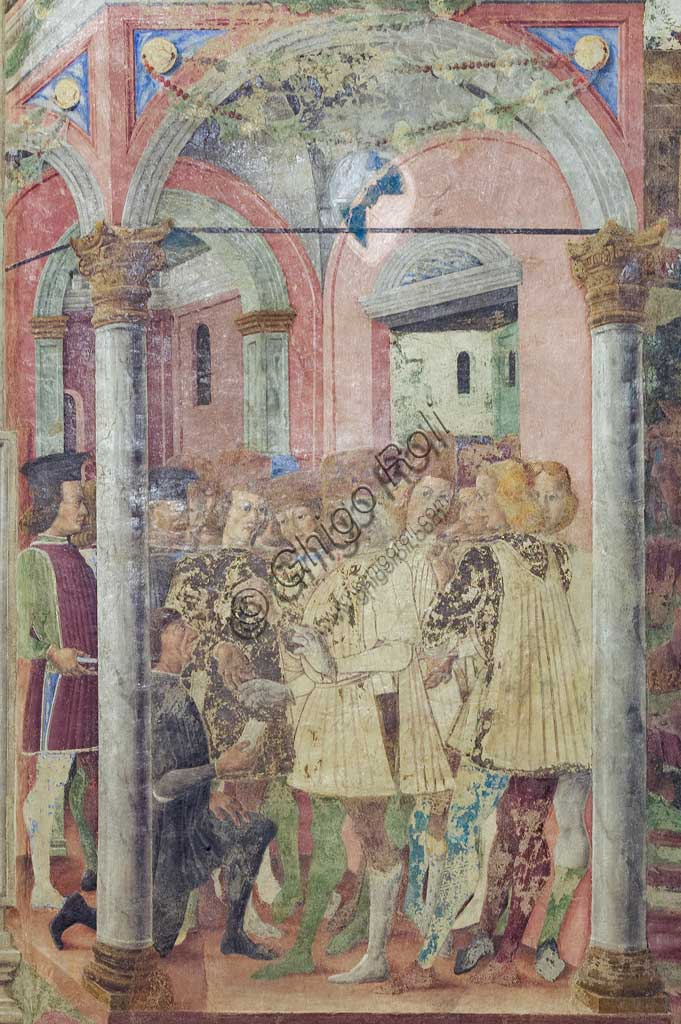 "Ferrara: Palazzo Schifanoia, Hall of the Months, Lower section of the month of ""June"": Life scenes of Borso d'Este's court,   on a project by Cosmé Tura e realised by painters of the Ferrara school, about 1468 - 1470. Detail."