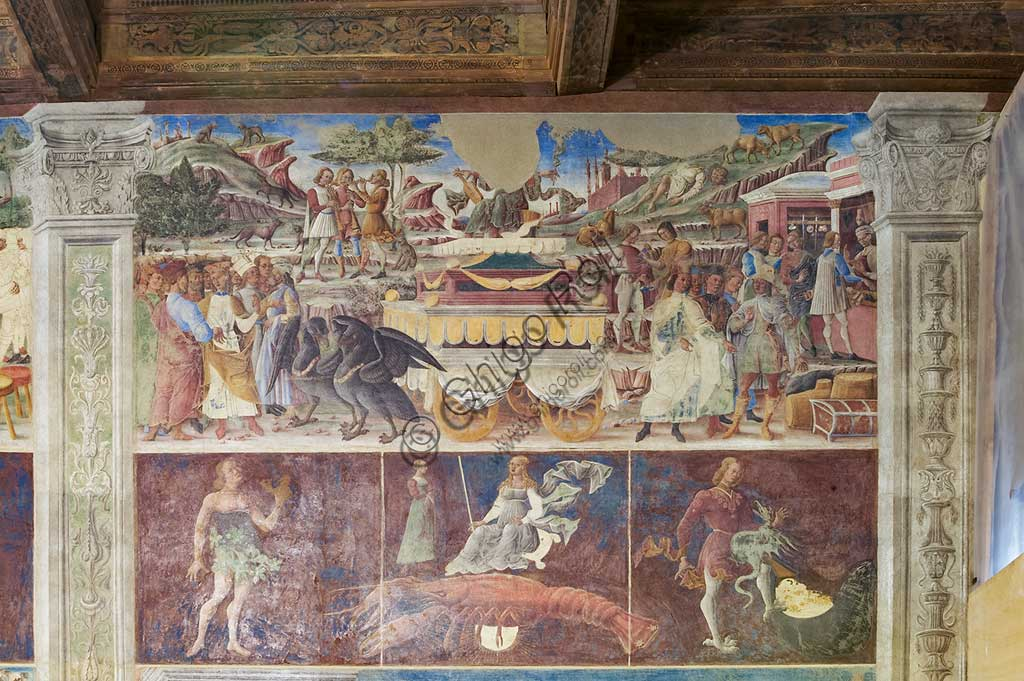 """Ferrara: Palazzo Schifanoia, Hall of the Months, Northern Wall: """"June"""" with the triumph of Mercury, the Zodiac sign of Cancer and the three Decans, on a project by Cosmé Tura e realised by painters of the Ferrara school, about 1468 - 1470."""