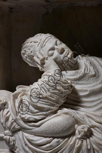 """Genova, Duomo (Cattedrale di S. Lorenzo),  interno, cappella Cybo (braccio settentrionale del transetto): """"Giuliano Cybo morente"""", di Guglielmo Della Porta (1534 - 1536). Particolare."""