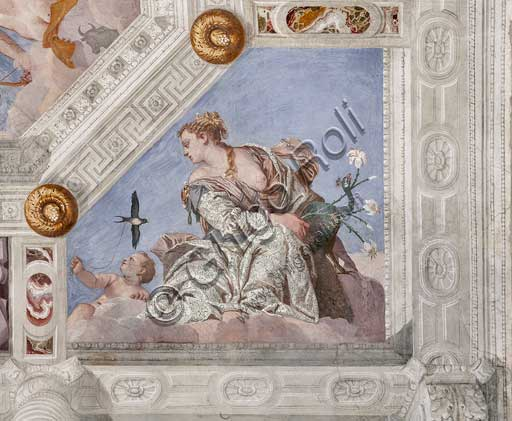 "Maser, Villa Barbaro, the Hall of Olympus, the vault, detail: ""Juno, or the Air"". Fresco by Paolo Caliari, known as il Veronese, 1560 - 1561."