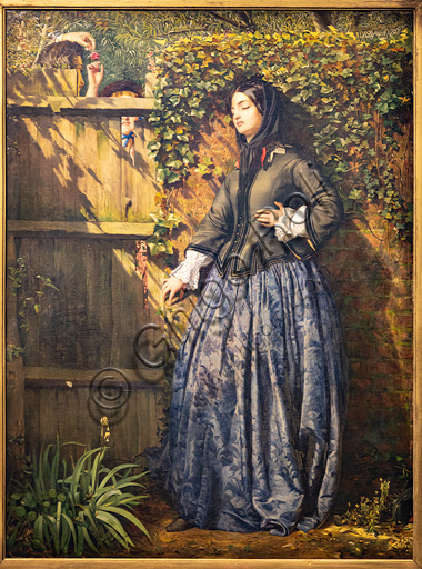 """""""Broken Vows"""", (1856) by Philip Hermogenes Calderon (1833-1898); oil painting on canvas. The rose bud is the symbol of a new love, the lily represents the grief and ivy is the symbol of loyalty."""