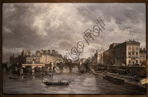 """Giuseppe Canella: """"View of the  the Pont Neuf"""", tempera on paper, 1830."""