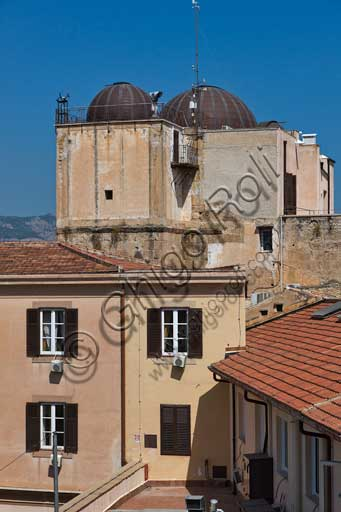 "Palermo, The Royal Palace or Palazzo dei Normanni (Palace of the Normans): view of the top of the Pisan Tower with the domes of the  astronomical observatory ""Giuseppe Piazzi""."
